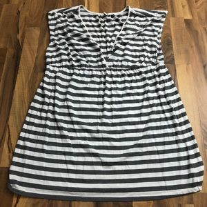 Women's XXL Gray Striped Empire Waist Dress